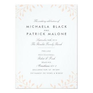 秘密の庭園の結婚式プログラム-赤面 14 X 19.1 インビテーションカード
