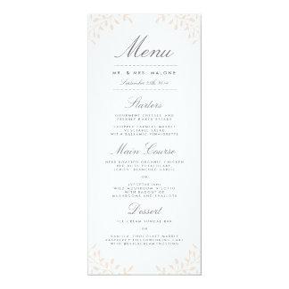 秘密の庭園の結婚式夕食メニュー-赤面 10.2 X 23.5 インビテーションカード