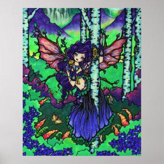 """""""秘密の木""""の妖精のドラゴンのファンタジーの森林芸術 ポスター"""