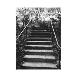 秘密庭への通りの写真の階段のNYC キャンバスプリント