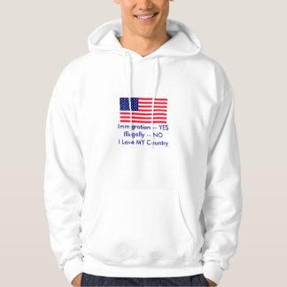 移住 -- 不法にYES -- 米国の旗無し パーカ