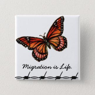 移動は蝶及び有刺鉄線との生命です 缶バッジ