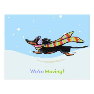 移動ダックスフントの冬の新しい住所発表 ポストカード