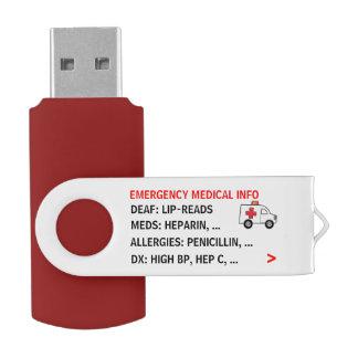 移動式緊急の医学情報(名前入りな) USBフラッシュドライブ