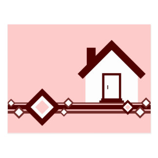 移動発表: ダイヤモンドのストライプのな家 はがき