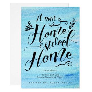 移動発表、家の甘い家のタイポグラフィ カード