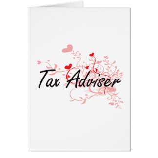 税務顧問のハートとの芸術的な仕事デザイン カード