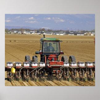 種トウモロコシプランターを引っ張るトラクター ポスター