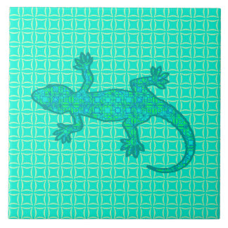 種族のろうけつ染めのヤモリ-ターコイズ/孔雀 タイル