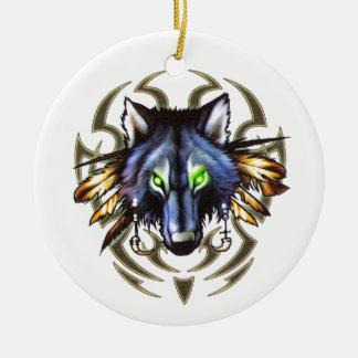 種族のオオカミの入れ墨のデザイン セラミックオーナメント