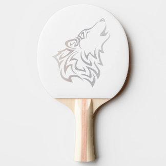 種族のオオカミの動物ベージュ白 卓球ラケット