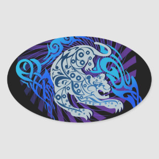 種族のジャガーのステッカー 楕円形シール