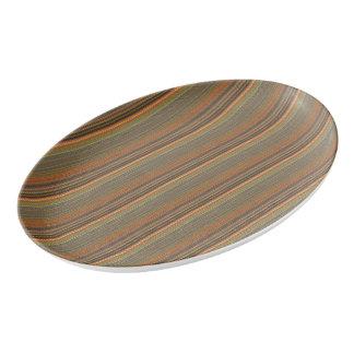 種族のストライプので抽象的なパターンデザイン 磁器大皿
