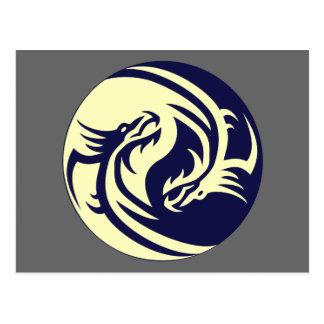 種族のドラゴンの陰陽(カスタマイズ可能な) ポストカード