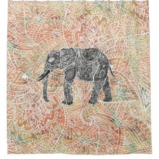 種族のペイズリー象のカラフルなHennaパターン シャワーカーテン