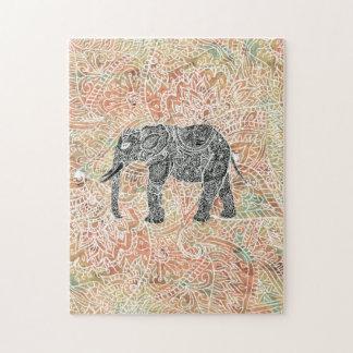 種族のペイズリー象のカラフルなHennaパターン ジグソーパズル