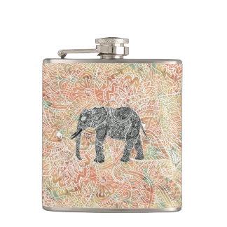 種族のペイズリー象のカラフルなHennaパターン フラスク