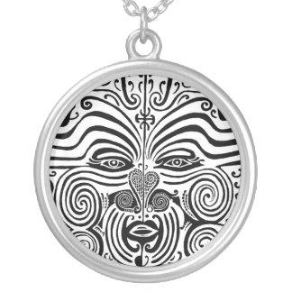 種族の入れ墨のデザイン-マオリニュージーランド シルバープレートネックレス