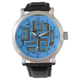 種族の刺激を受けたな青及び黒い正方形パターン 腕時計