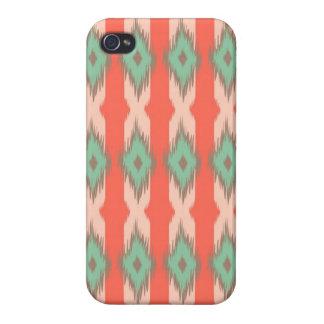 種族の幾何学的なイカットのガーリーで抽象的でアステカなパターン iPhone 4/4S カバー