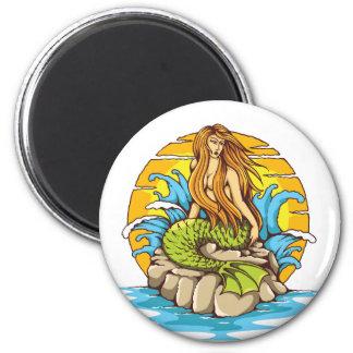 種族の日曜日の入れ墨のスタイルの芸術の島の人魚 マグネット