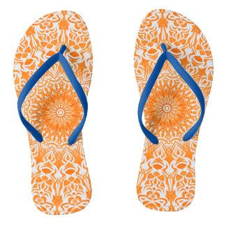 種族の曼荼羅のオレンジ ビーチサンダル