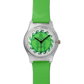 種族の緑のウミガメ 腕時計