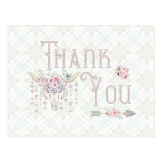 種族の花のブル・ホーンの矢のピンクのミントは感謝していしています ポストカード
