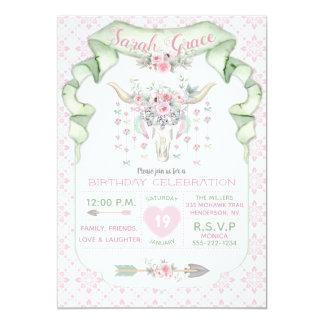種族の花のブル・ホーンの矢のピンクの真新しいフェミニン カード