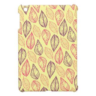 種族の葉のろうけつ染めの素朴でシックな自然パターン iPad MINIカバー