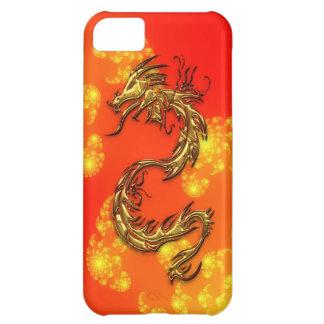 種族の金ゴールドのドラゴン及びフラクタルの芸術のiPhoneの場合 iPhone5Cケース