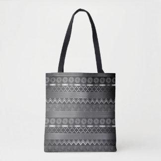 種族の銀製灰色パターン トートバッグ