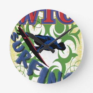 種族サーフ ラウンド壁時計