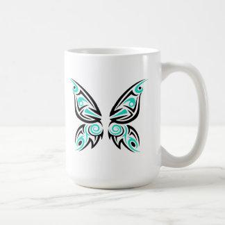 種族ターコイズの黒い蝶 コーヒーマグカップ