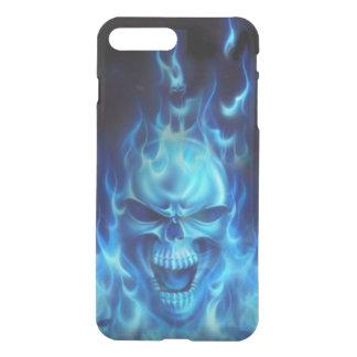 種族炎が付いている青いスカルの頭部 iPhone 8 PLUS/7 PLUS ケース