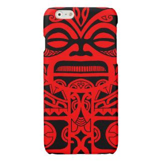 種族Tikiの神の入れ墨のデザインのポリネシアの顔 光沢iPhone 6ケース