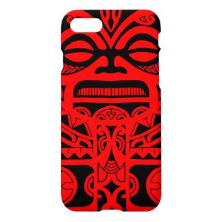 種族Tikiの神の入れ墨のデザインのポリネシアの顔 iPhone 8/7 ケース