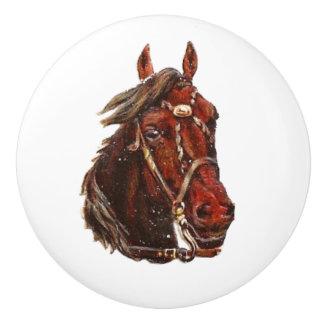 種類及び甘い直面された茶色の馬のヴィンテージの芸術 セラミックノブ