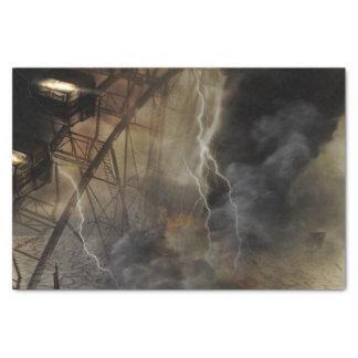 稲妻の嵐の劇的な観覧車の滝 薄葉紙