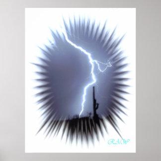 稲妻はサグアロのサボテン-フラッシュ--のシルエットを描きます ポスター