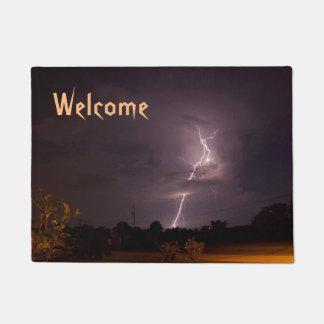 稲妻夜嵐の歓迎の玄関マット ドアマット