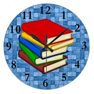 積み重なる本 ラージ壁時計