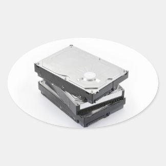 積み重なる3つのハードディスク 楕円形シール