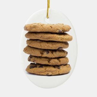 積み重ねられたおいしいチョコチップクッキー セラミックオーナメント