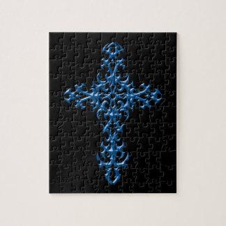 積極的で青いゴシック様式十字 ジグソーパズル