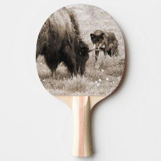 積極的なオオカミの狩りのバイソン 卓球ラケット