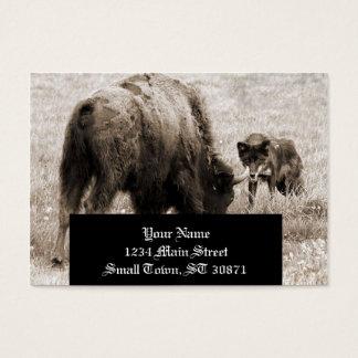 積極的なオオカミの狩りのバイソン 名刺