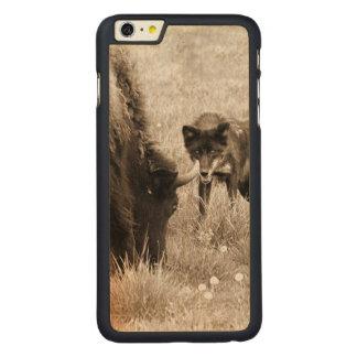 積極的なオオカミの狩りのバイソン CarvedメープルiPhone 6 PLUS スリムケース