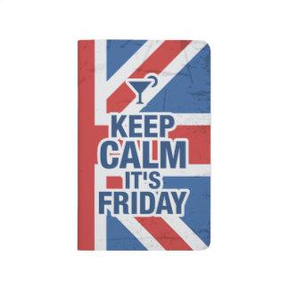 """""""穏やかそれありますおもしろいな金曜日""""がリラックスします冷たいイギリスを保って下さい ポケットジャーナル"""