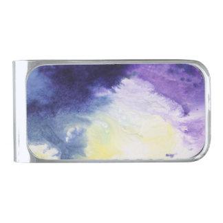 穏やかで幸せで青く黄色い白の抽象芸術の絵を描くこと シルバー マネークリップ